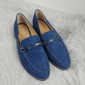 Franco Sarto Blue Suede Harrison Loafers Size 8.5